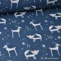 Tissu coton imprimé Renards et cerfs indigo, menthe et Or Thème Hiver Noel - Oeko tex .x1m