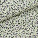 tissu popeline coton imprimé fleurettes parme/bleu . x1m