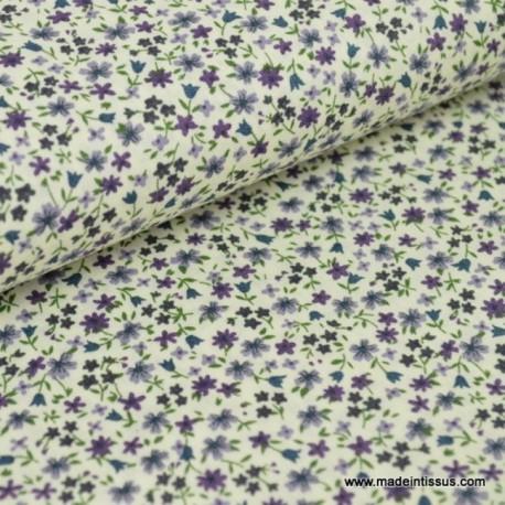 tissu popeline coton imprimé fleurettes parme/bleu