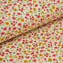 tissu popeline coton imprimé fleurettes jaune/rouge . x1m
