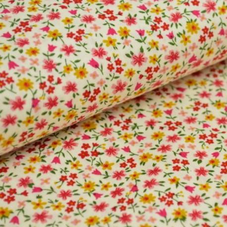 tissu popeline coton imprimé fleurettes jaune/rouge