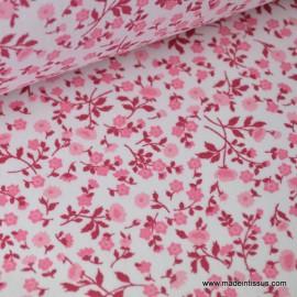tissu  coton imprimé fleurettes elenie rose .x1m