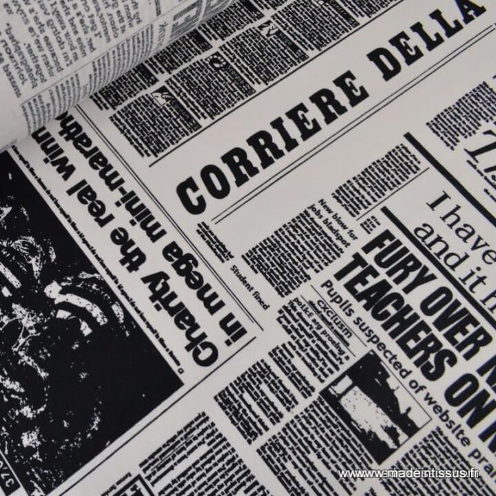 Cretonne coton imprimé Journal x50cm