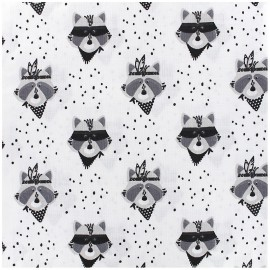 Tissu Popeline coton imprimé raton noir et blanc .x1m