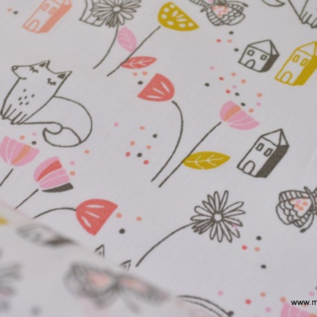 Tissu coton imprimé petits points multi couleurs x50cm