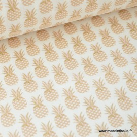 Tissu 100% coton imprimé d'Ananas doré Or .x1m