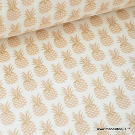 Tissu 100% coton imprimé d'Ananas doré Or x50cm