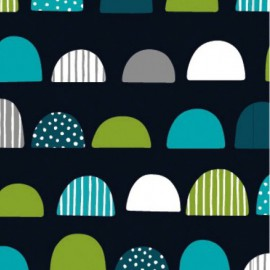 Tissu jersey oeko tex imprimé demis-cercles verts et bleus fond marine