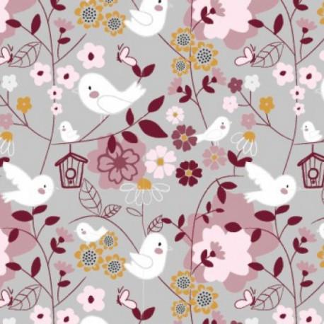Tissu jersey Oeko tex imprimé oiseaux et fleurs gris et rose