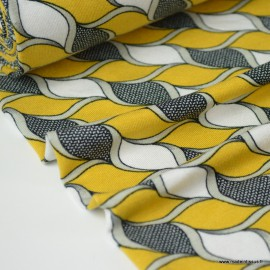 Tissu jersey Viscose imprimé torsades moutarde et blanches