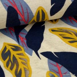 Tissu jersey Viscose imprimé feuilles bleus et moutarde fond écru chiné