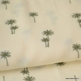 Tissu Viscose écru imprimé palmiers Kaki