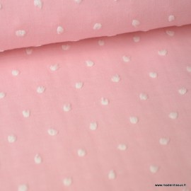 Tissu plumetis voile de coton chambray Rose