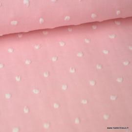 Tissu plumetis chambray Rose