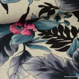 Tissu jersey Viscose imprimé fleurs grises, bleus et roses fond écru chiné