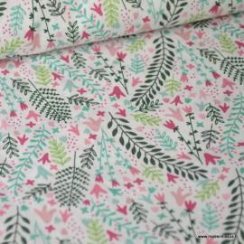 Tissu popeline Oeko tex imprimé fleurs menthe et rose