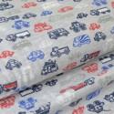 Tissu jersey emerisé Oeko tex imprimé engins et camions fond gris chiné