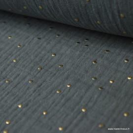 Tissu Double gaze coton Glitter à pois OR coloris GRIS FONCE