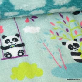 Tissu doudou imprimé double face pandas et nuages