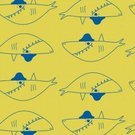 Tissu jersey Oeko tex imprimé requins fond jaune