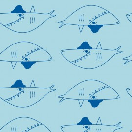 Tissu jersey French terry Oeko tex imprimé gros requins fond bleu turquoise