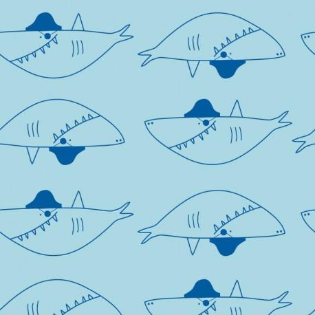 Tissu jerseyrench terry Oeko tex imprimé gros requins fond bleu turquoise