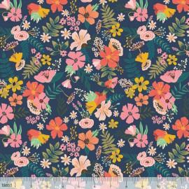 Tissu Coton imprimé Fleurs fond bleu collection FLORAL PETS by Blend Fabrics