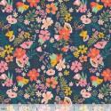 Tissu Coton imprimé Fleurs fond bleu collection FLORAL PETS by Blend Fabrics .x1m