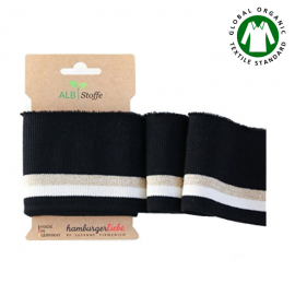 Tissu Cuff me Glam bio Lurex, Embout de manches (bord côte) à rayures Noir, or et blanc en 110cm