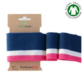 Tissu Cuff me Collège bio Lurex, Embout de manches (bord côte) à rayures bleu et rose en 110cm