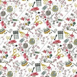 Tissu Popeline coton imprimé ciseaux, bobines et boutons par Alexander Henry
