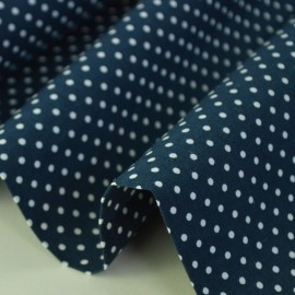 Tissu Popeline coton imprimé petit pois fond bleu marine - oeko tex