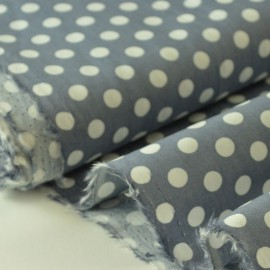 Tissu Popeline coton imprimé gros pois gris clair . x1m