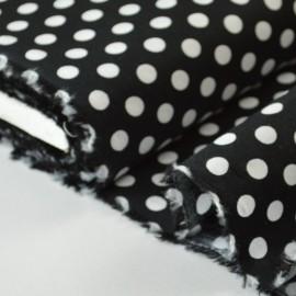 Tissu Popeline coton imprimé gros pois noir . x1m