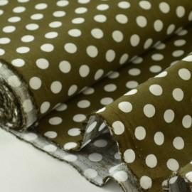 Tissu Popeline coton imprimé gros pois marron . x1m