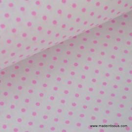 Tissu Popeline coton imprimé petit pois Fuchsia.x1m