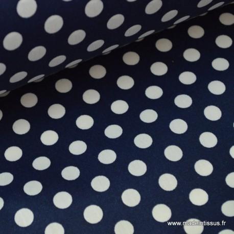 Tissu imperméable étanche imprimé pois blanc marine x50cm