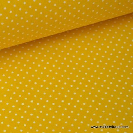 COTON IMPRIME piselli PETIT POIS BLANC fd jaune 160CM 115GR/M²