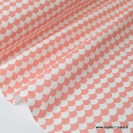 Tissu coton imprimé dessin écailles corail .x1m