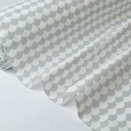 Tissu coton imprimé dessin écailles gris .x1m