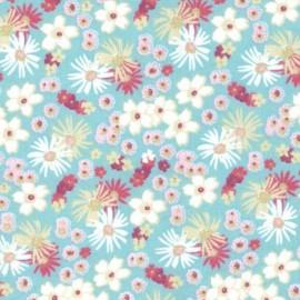 tissu coton imprimé fleurs et fleurettes menthe et rose .x1m