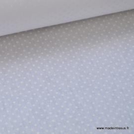Tissu coton imprimé ton sur ton dessin pois blancs sur fond blanc  .x1m