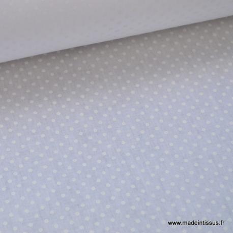 Tissu coton imprimé ton sur ton dessin pois blancs sur fond blanc  x50cm