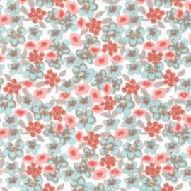 tissu coton imprimé fleurs et fleurettes rose et menthe