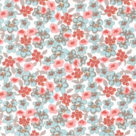 tissu coton imprimé fleurs et fleurettes rose et menthe x50cm