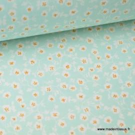 tissu coton imprimé fleurs et fleurettes menthe .x1m