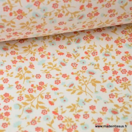 tissu coton imprimé fleurs et fleurettes menthe et rouge x50cm
