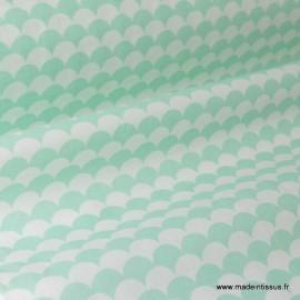 Tissu coton imprimé dessin écailles MENTHE .x1m