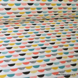 Tissu 100%coton imprimé graphique multicouleurs x1m