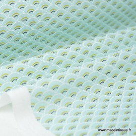 Tissu cretonne coton Koi menthe imprimé